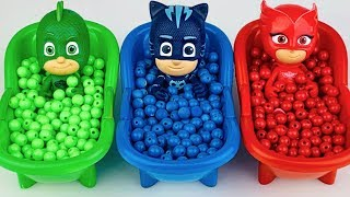 Pj Masks Toys Wrong Heads Learn Colors With Bathtubs And Beads Colorful Finger Paints thumbnail