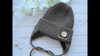 Детская шапочка спицами с модной макушкой. Осенне-весенняя шапка с ушками. МК