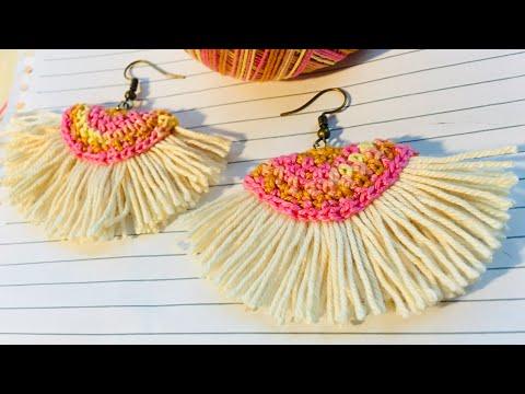 Tassel Fan Summer Crochet earrings  tutorial