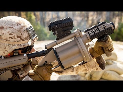 US  Marines Shooting With The M32A1 Milkor MGL 40mm + M203, M79 & Shotguns