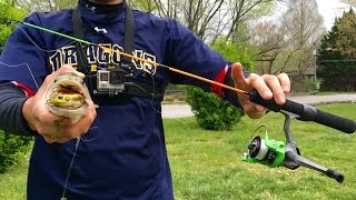 topwater bass on an ice fishing rod challenge