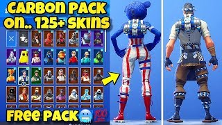 "NOUVEAU ""CARBON PACK"" BACK BLING Showcased With 120 'SKINS! Fortnite Battle Royale (CARBON PACK COMBOS)"