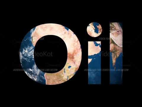 Text Oil revealing turning Earth globe