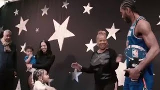 ALL STAR MVP KAWHI LEONARD IN THE BACK STAGE WITH HIS FAMILY