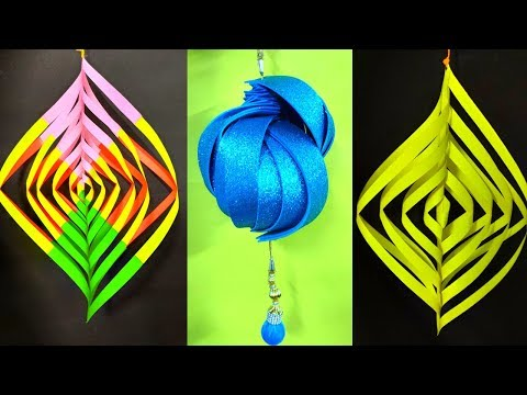 DIY DIWALI PAPER LANTERN ! DIWALI DECORATION IDEAS ! AKASH KANDIL CRAFT FOR FESTIVAL ! WALL HANGING