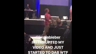 Justin Bieber dabbing at church with Selena Gomez in Beverly Hills, California - February 14, 2018