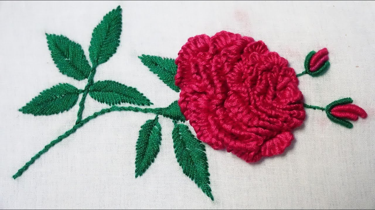 Hand embroidery brazilian rose youtube