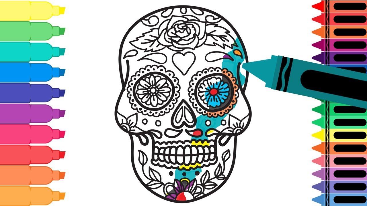 How to Draw Mexico Sugar Skull - Coloring Pages Mexican Día de ...