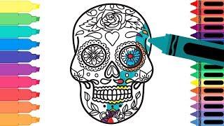 How to Draw Mexico Sugar Skull - Coloring Pages Mexican Día de Muertos Calavera - Tanimated Toys
