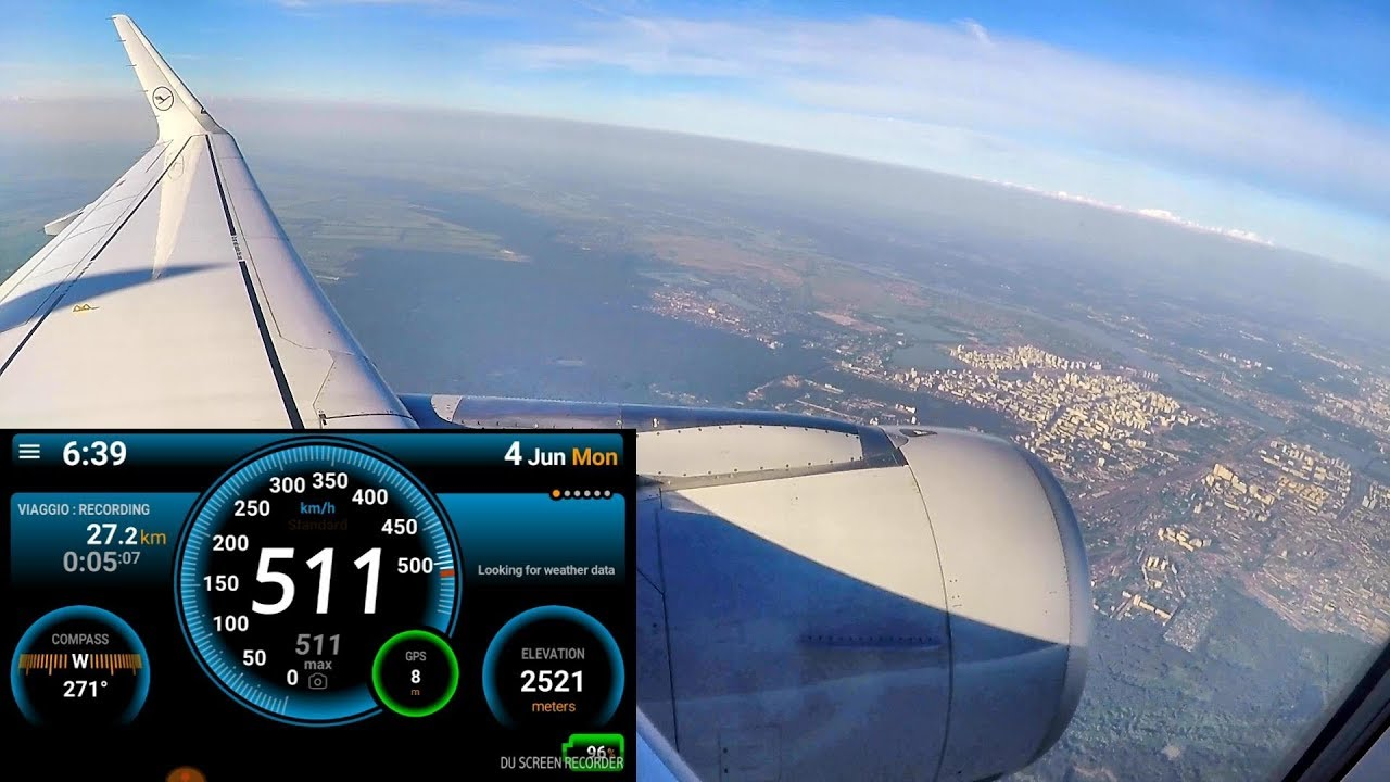 Takeoff from Kiev, Ukraine  Altitude and Speed Recording  Airbus A320