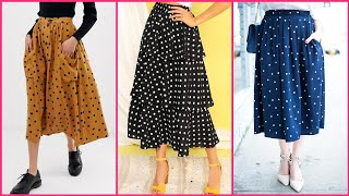 girlish Casual wear different colour polka dot skirts design to wear with tops and blouses