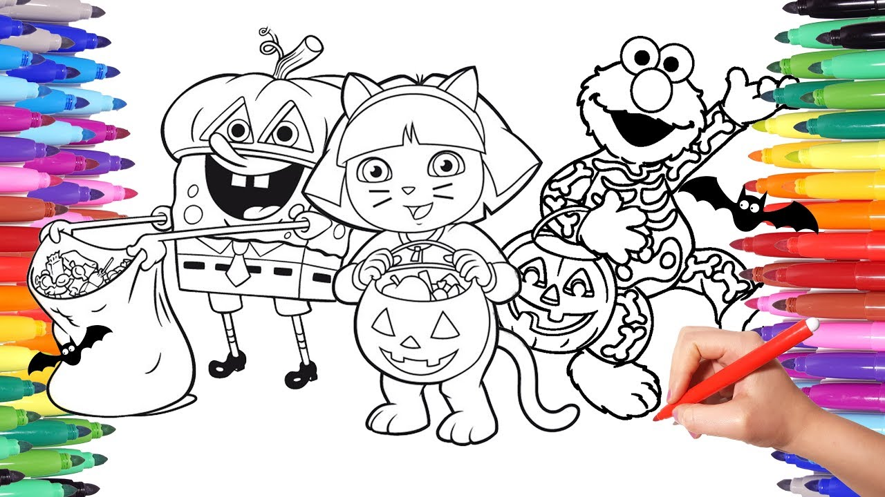 Spongebob Dora and Elmo Halloween Costumes Party Coloring Pages for ...