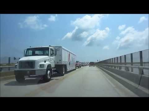 Driving in USA, NC - Oregon Inlet - Bonner Bridge, North Carolina Outer Banks