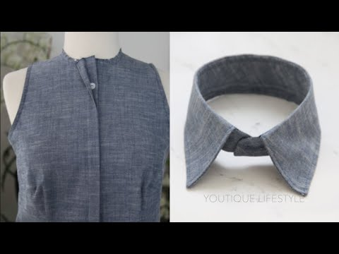 How to sew the Concealed Button Placket & Shirt Collar : Chambray Blouse