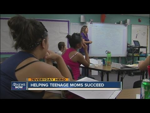 Florence Crittenton High School teen moms get help from volunteer every week