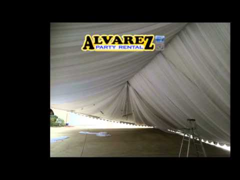 Alvarez party rental ( how we do the tents 40x80 and full draping of ceiling)