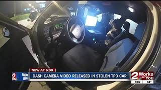 Police video captures Tulsa suspect stealing patrol car