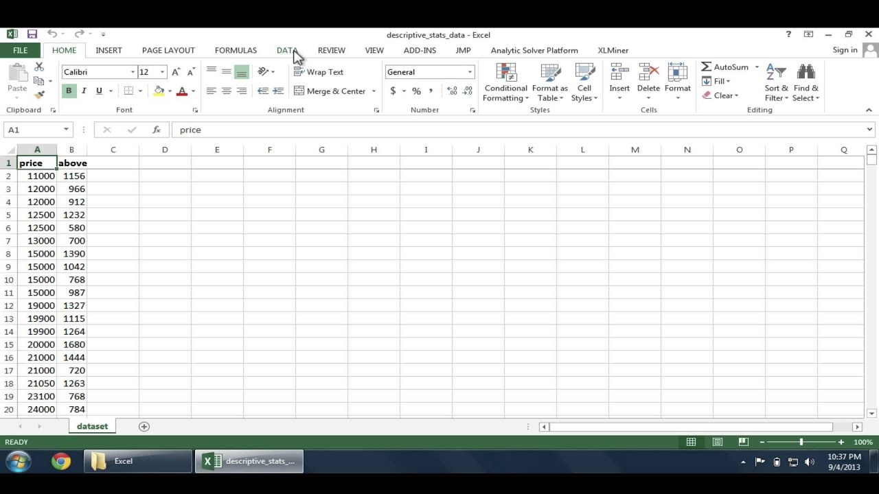 calculating descriptive statistics in excel calculating descriptive statistics in excel