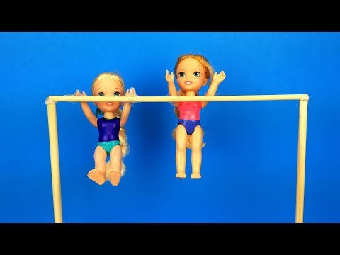 gymnastics-class-!-elsa-and-anna-toddlers-learn-new-tricks---barbie-is-the-coach---exercises