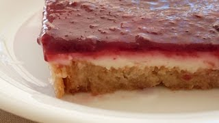 Cherry-Cream Dessert with Toasted Bread | Cake of Dry Biscuits Recipe