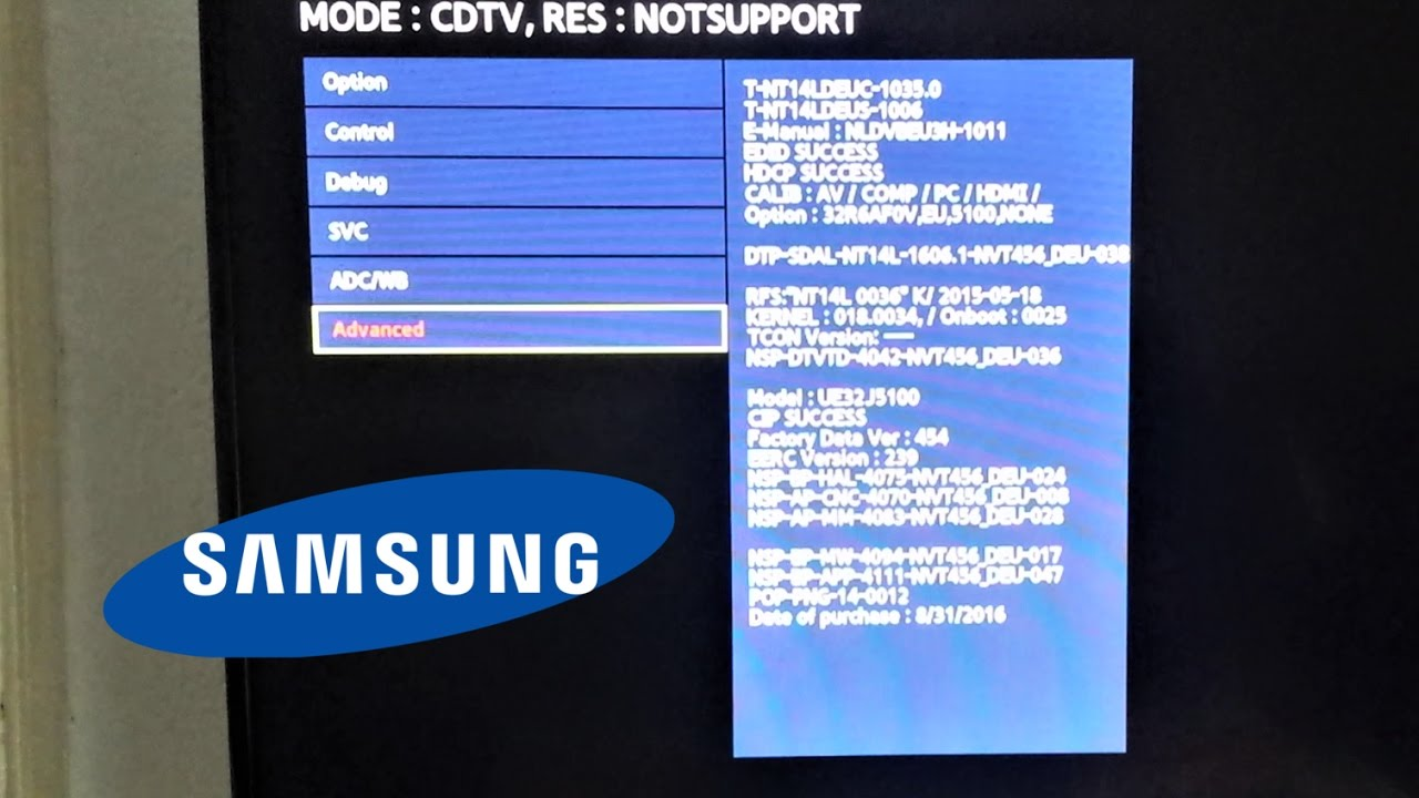 How to enter Samsung TV Advanced option in Service menu