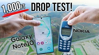 Samsung Galaxy Note 10 Drop Test from 1000FT VS Nokia 3310 - in 4K