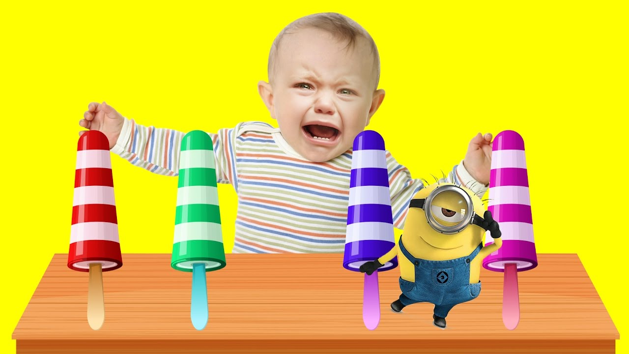 Bad Baby crying and learn colors-Ice Cream with Minions- Finger Family Song Collection