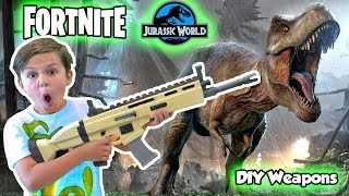 Fortnite in Real Life Jurassic World SKIT - We Made a DIY Scar Prop | DavidsTV