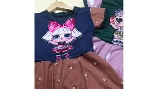 IMPORT Dress LED LOL uk 1-7 Tahun - Baju Anak Perempuan Dres Gaun Pesta Premium Balita Cewek