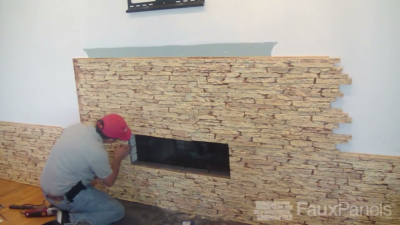 Install a Faux Stone Fireplace Surround | Step-by-Step Demo - YouTube