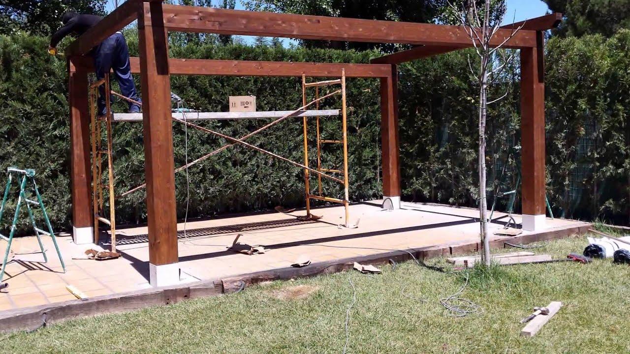 Porche de madera construcci n paso a paso youtube - Construccion de pergolas de madera ...