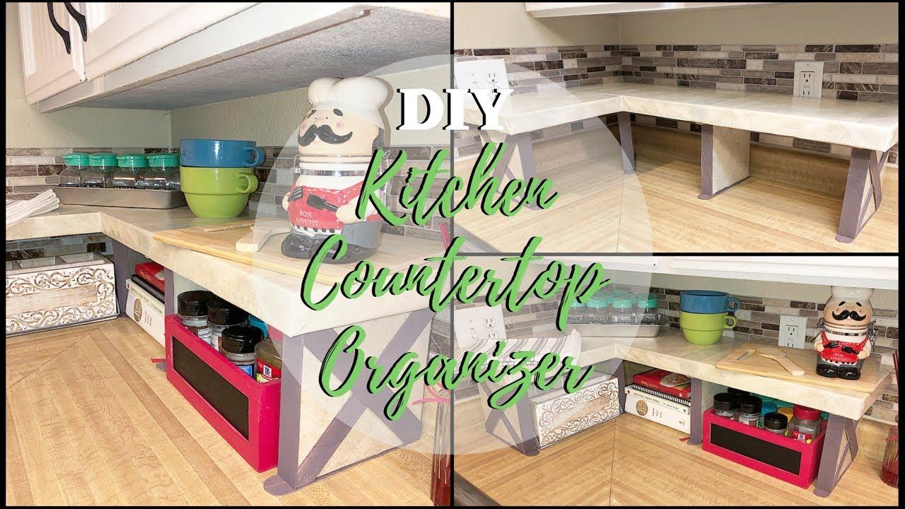 DIY KITCHEN COUNTERTOP ORGANIZER & DIY KITCHEN COUNTERTOP ORGANIZER - YouTube