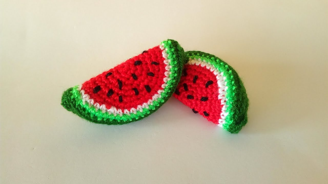 Anguria Portachiavi Uncinetto Tutorial Keychain Watermelon Crochet