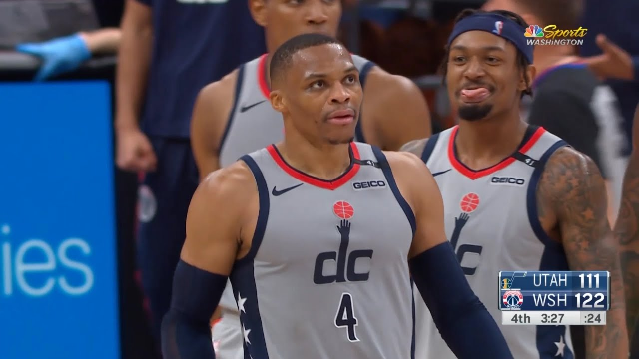 Russell Westbrook rocking the baby on Donovan Mitchell | Jazz vs Wizards