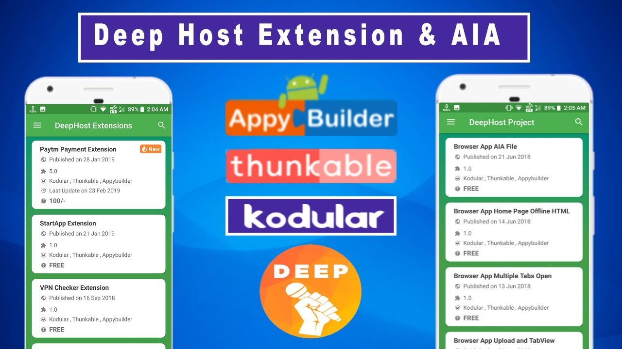 Deep Host Extension & AIA File Download | Kodular | Thunkable | Appybuilder