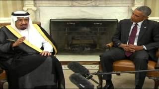 بالفيديو.. العاهل السعودي بلقاء أوباما من واشنطن: سعيد لأن أكون مع صديق ببلد صديق.. وعلاقتنا بأمريكا مفيدة للعالم.. ولسنا بحاجة لشيء بالمملكة