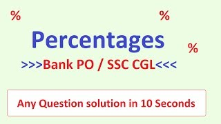 Percentages SSC CGL 2017 / BANK PO : (Shortcuts and Tricks) in Hindi