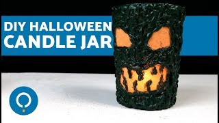 DIY Halloween Candle Jar - Spooky Face Candle Holder