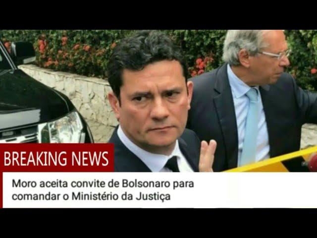 Sérgio Moro aceita convite do Presidente Jair Bolsonaro para comandar o Ministerio da Justiça