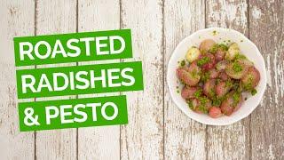 Roasted Radishes with Pesto (Vegan)