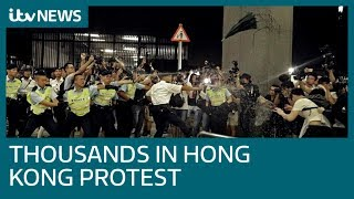 Protesters vent fury as Hong Kong boss won't back down over extradition reform  ITV News