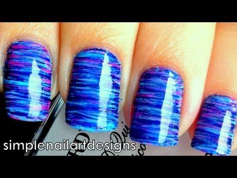fan brush striped nail art tutorial
