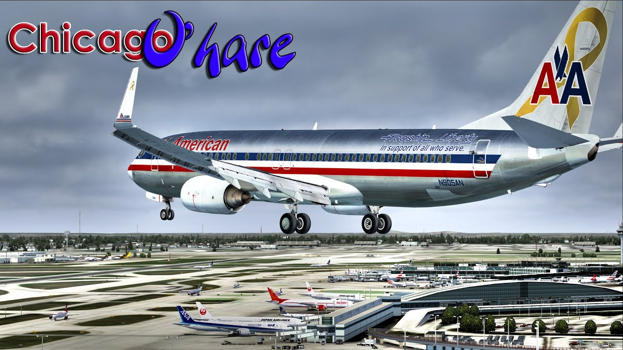 |FSX| American Airlines 737-800 to Chicago O'hare by M A  Flight Simulation