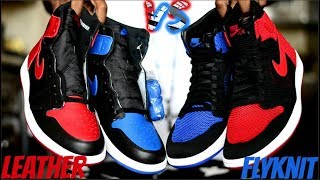 """FLYKNIT vs. LEATHER Jordan 1 Bred """"Banned"""" / Royal Comparison / Which Quality do you choose?"""