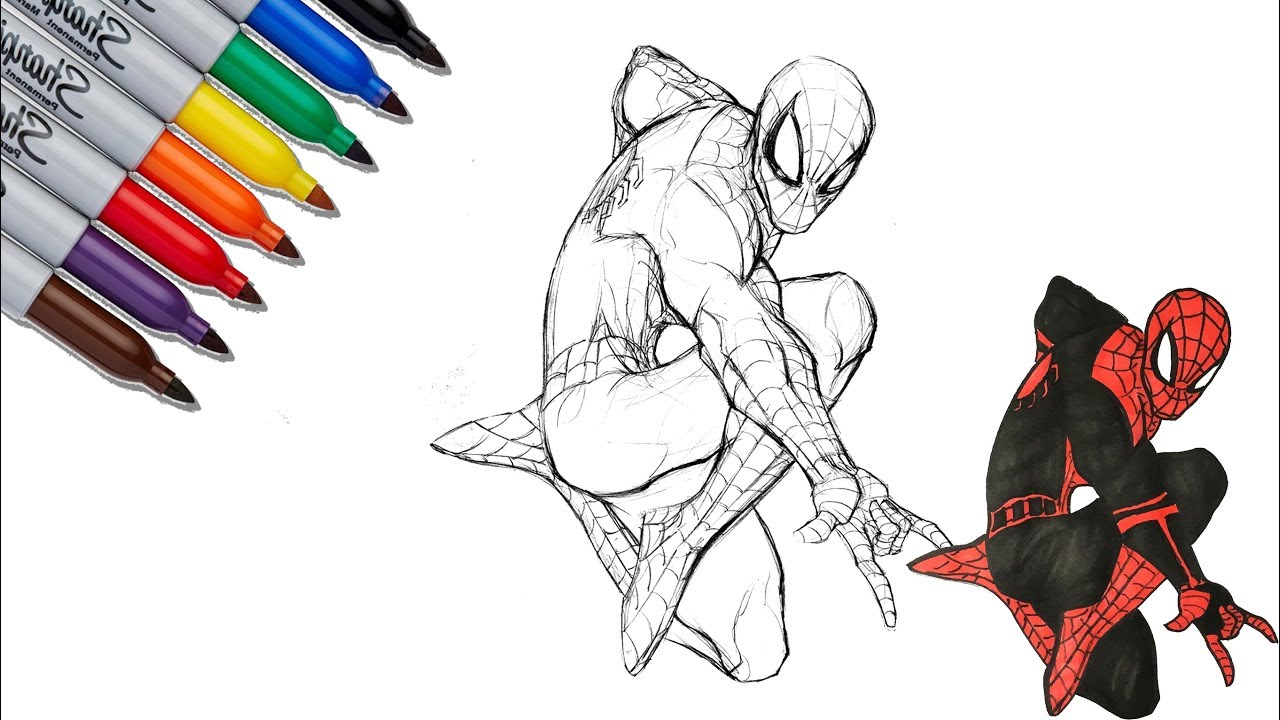 Spider Man To Spider Man Far From Home Suit Coloring Pages Sailany Coloring Kids