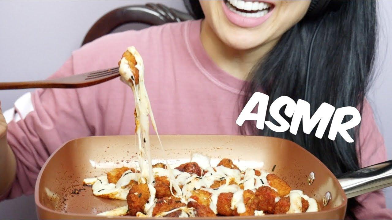 Asmr Spicy Boneless Chicken Nuggets With Mozzarella Cheese Eating Sounds No Talking Sas Asmr