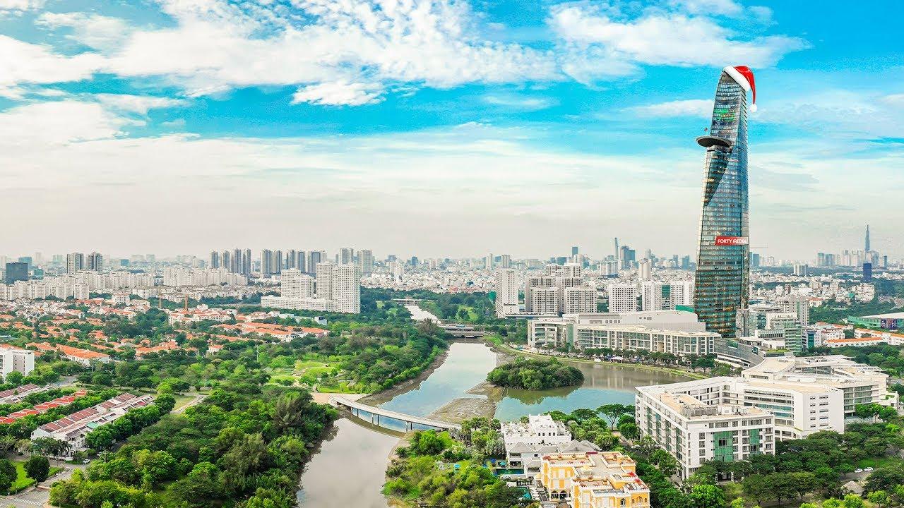 Toàn cảnh Khu đô thị Phú Mỹ Hưng (Flycam DJI Mavic 2 Pro 2018)