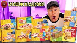Only Eating LUNCHABLES for 24 Hours! (IMPOSSIBLE 24 HOUR FOOD CHALLENGE)