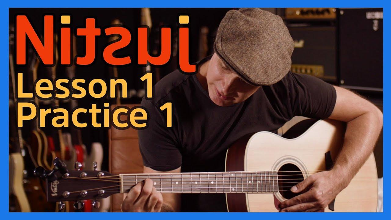 Nitsuj Learning Guitar. Lesson 1 Practice 1 Justin Guitar Beginner ...