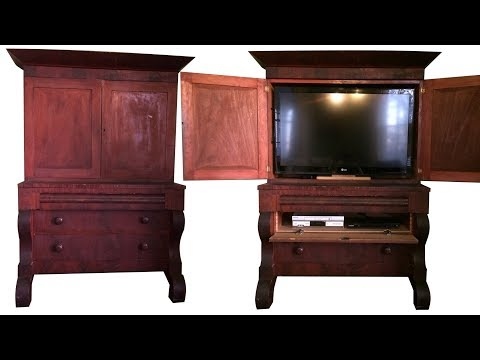 18th century desk becomes a 21st century entertainment center.  FarmCraft101 DIY